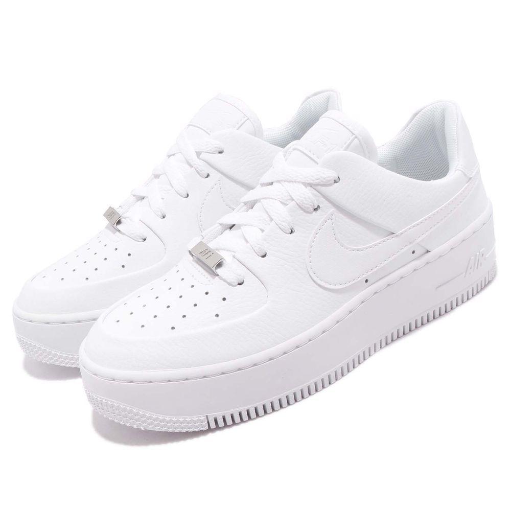 Nike Wmns Af1 Sage Low Triple White Air Force 1 Platform Womens Shoes Ar5339 100 S N A Ar5339100 Nike Shoes Girls Women Platform Shoes White Air Force 1