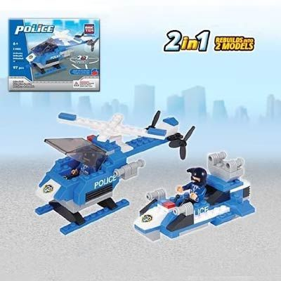 The Police Hawk Construction set by BricTek is a 97 piece, Lego compatible construction set.  The construction set builds both a police helicopter as well as a police patrols boat and is rated easy to build.  The construction set is recommended for ages 6 and up.