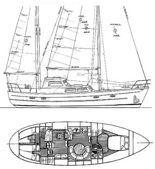 cheoy lee 43 ms drawing on sailboatdata com