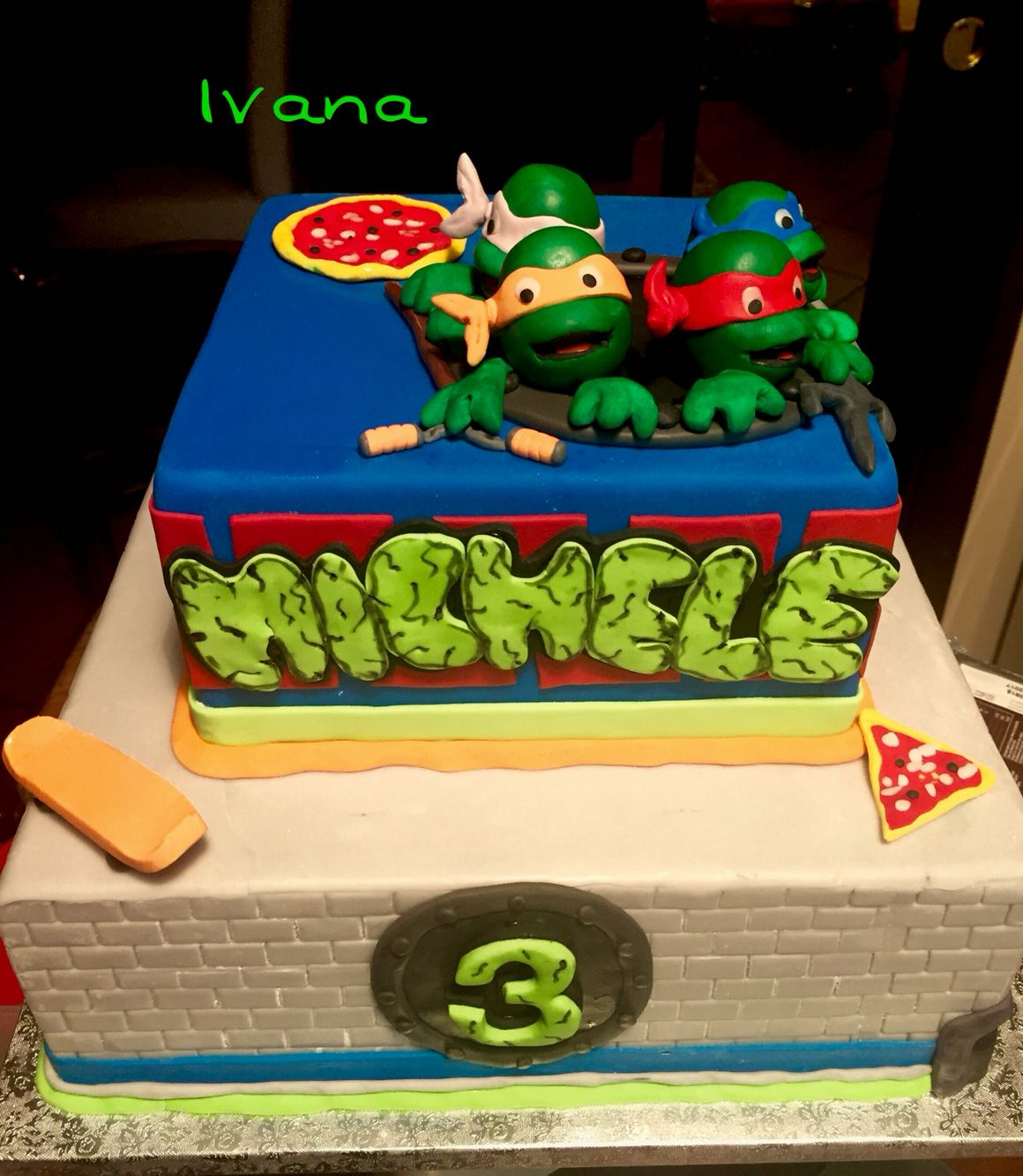 Ninja turtles fondant cake nephew Chile Pinterest