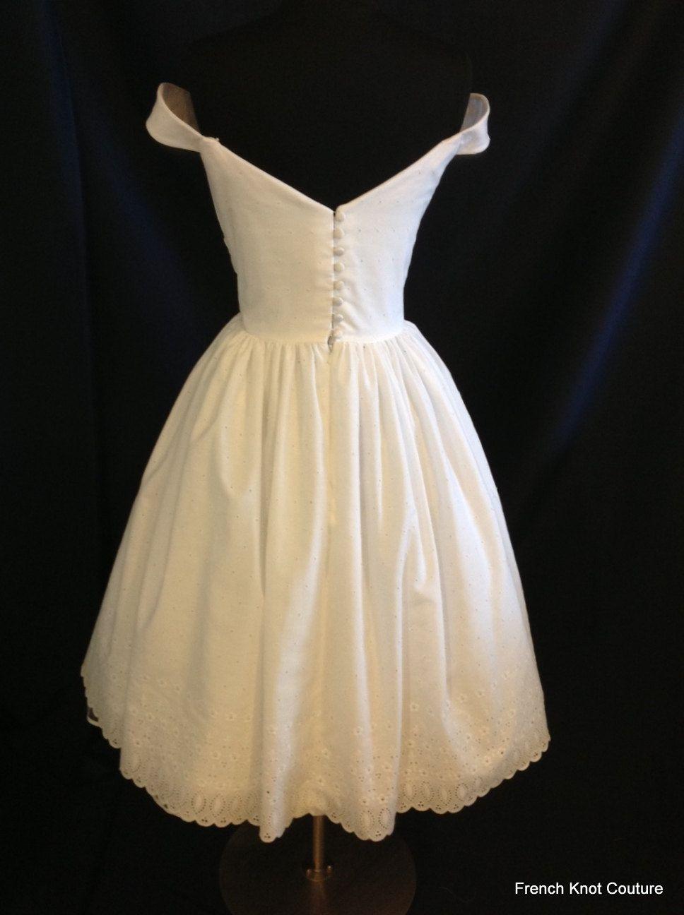 Short wedding dress off shoulder cotton eyelet flirtini tea