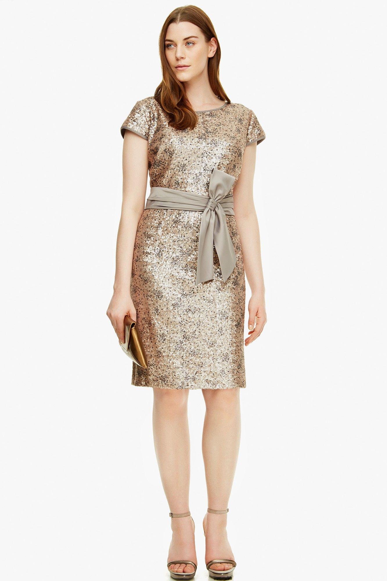 Vestido lentejuelas raso - Cóctel   Adolfo Dominguez shop online