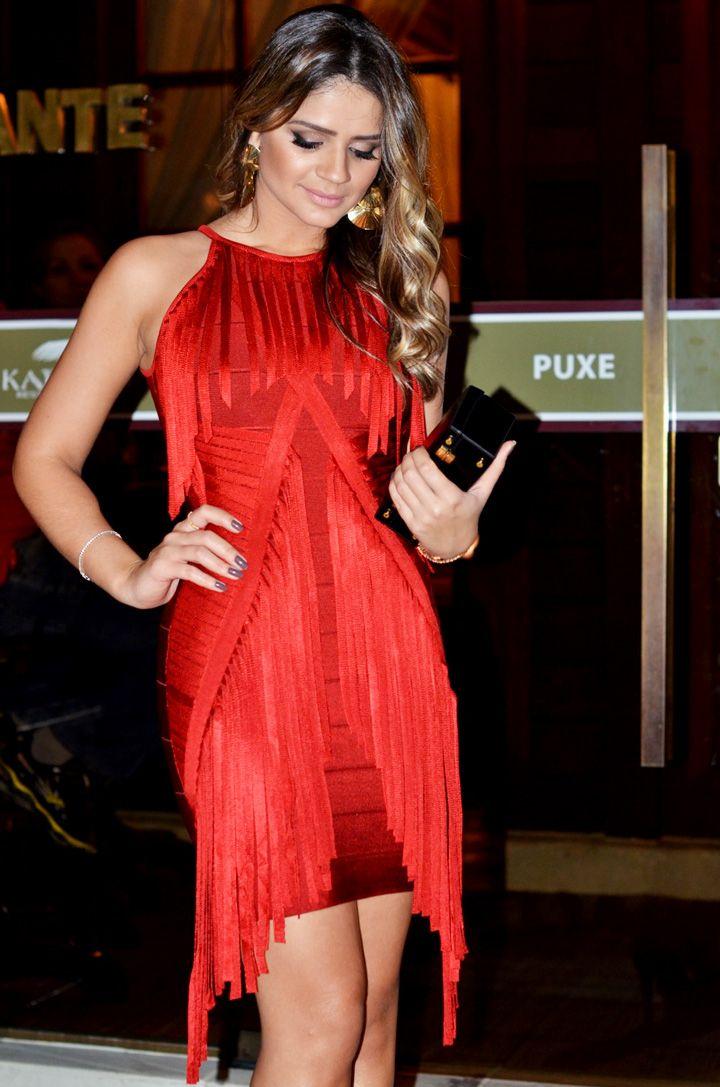 f4b25a3b1 Thássia Naves - vestido vermelho curto de franjas S2 | Dresses ...