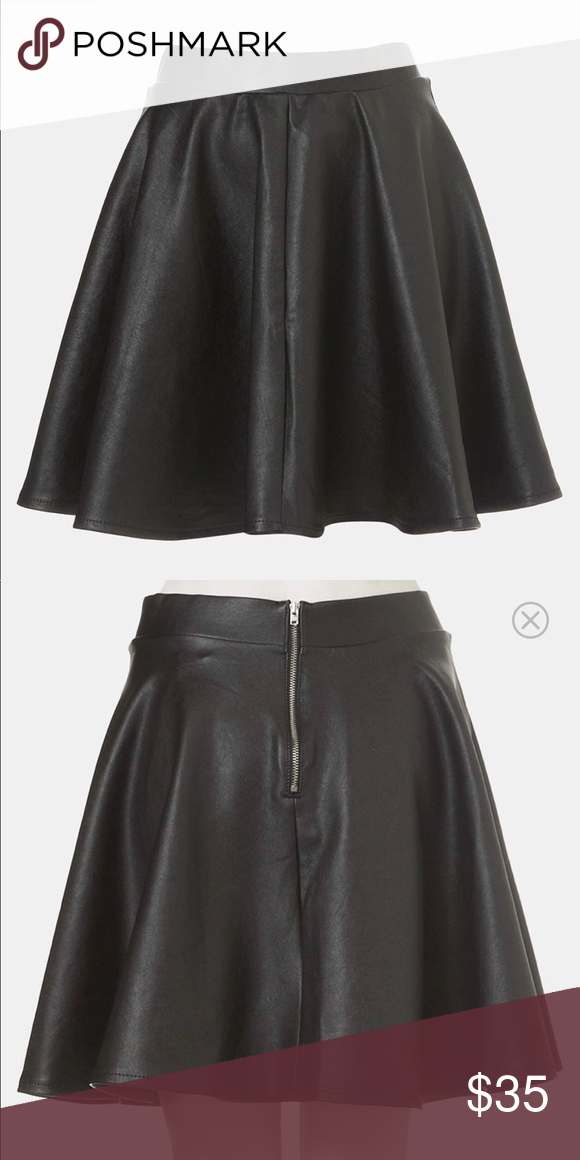 9df5ccf0e4 Top shop faux leather skater skirt Super cute leather skirt to start the  new year! Topshop Skirts Mini