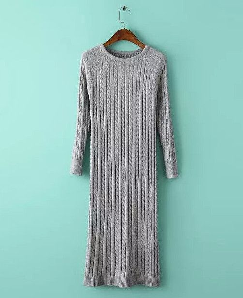 Gender: Women Waistline: Natural Decoration: None Sleeve Style: Regular Pattern Type: Solid Style: Casual Material: Cotton,Polyester,Acrylic Season: Autumn Dresses Length: Mid-Calf Neckline: O-Neck Si