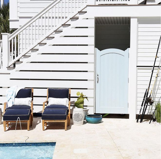 Outdoor Basement Stairwell Cover: Poolside Shower Under Deck Stairs. Poolside Outdoor Shower