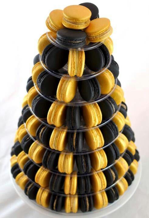 Black & Gold Macaron Tower...