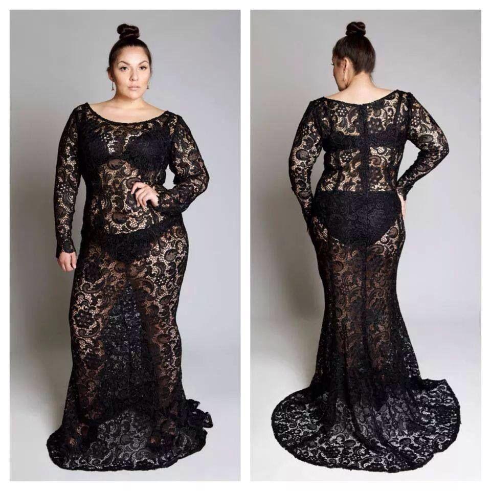 Lace Black See Through Plus Size Dress Fashion Pinterest