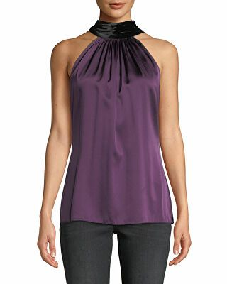 b696ac0129bd1e Ramy Brook Designer Paige Silk Halter Top with Velvet