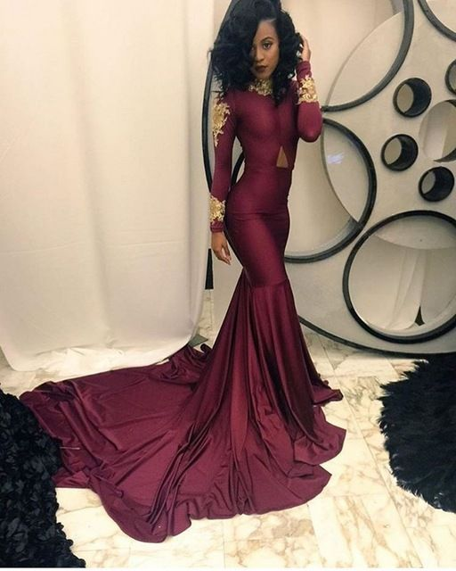 e2c4ba42da958 Elegant Burgundy Prom Dresses Gold Lace Appliques High Neck Mermaid ...