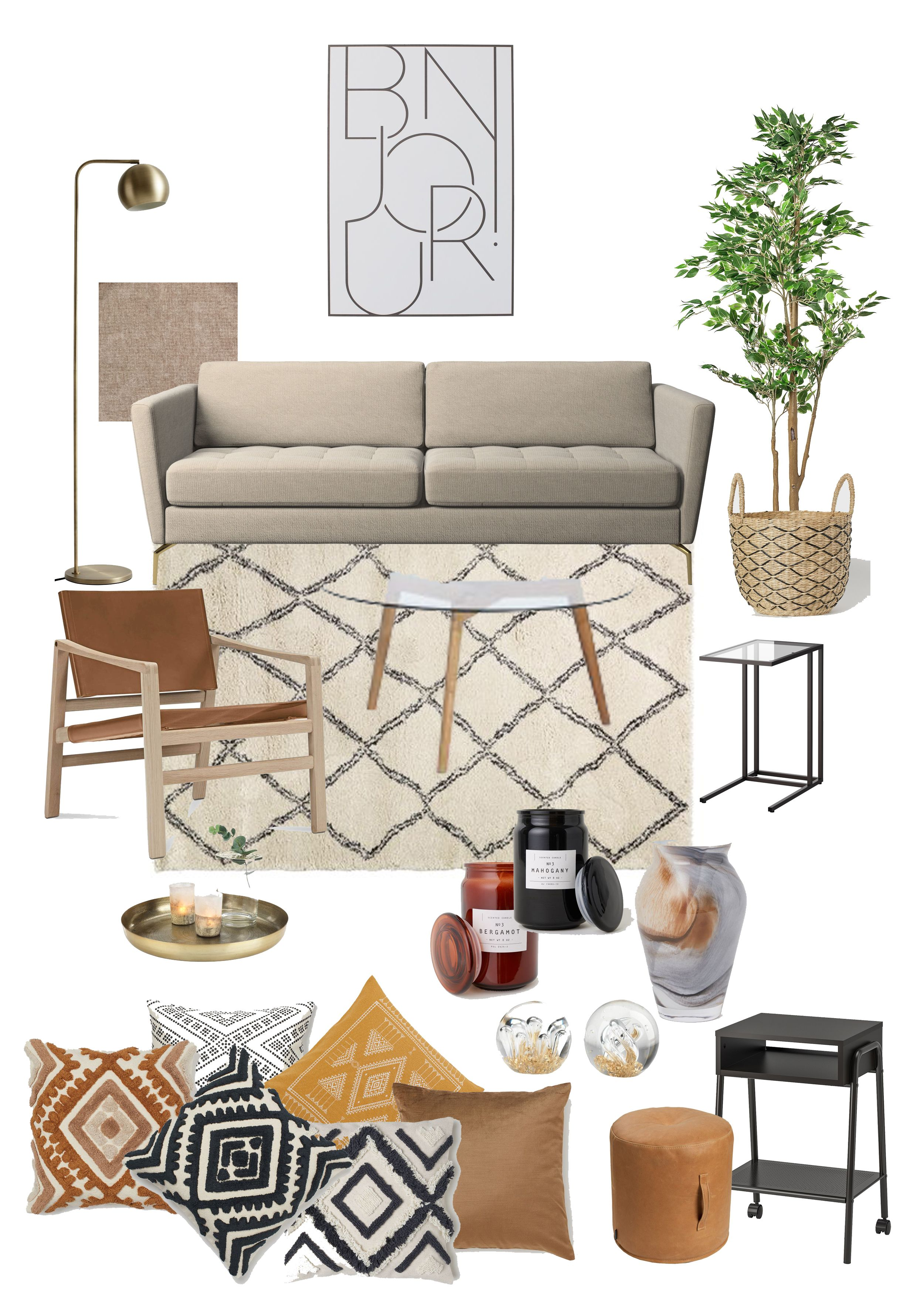 This is a moodboard for a small living room in neutral natural tones. Easy to make a place cosy and inviting with these items without breaking a bank. These items are from #boconcept #ikea #homehome #jysk very Scandinavian indeed :)