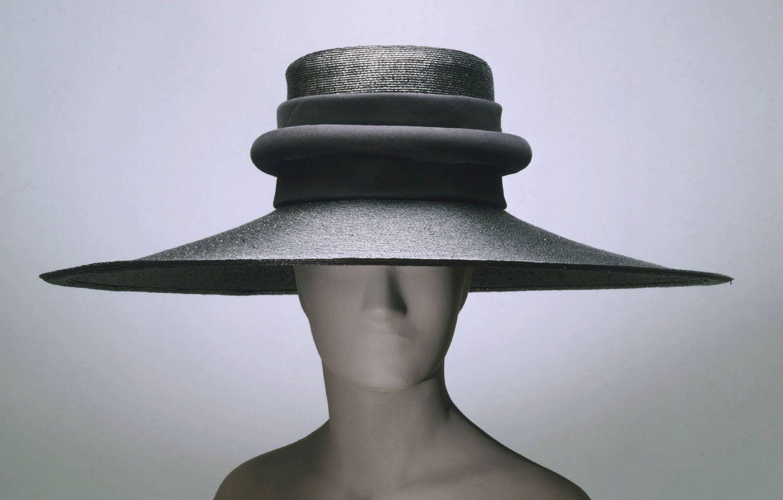 Woman's hat | United States, circa 1958 | Label: John-Frederics, Inc., New York | Materials: black lacquered straw, silk plain weave | Philadelphia Museum of Art