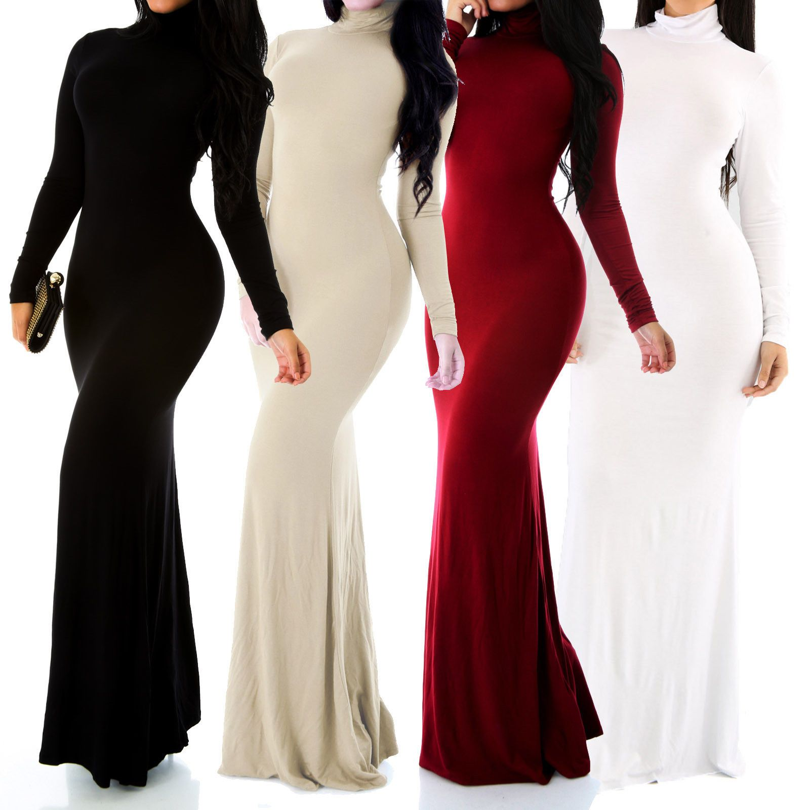 04c703670d802 New Sexy Fitted Long Sleeve Turtleneck Bodycon Maxi Long Dress Size ...