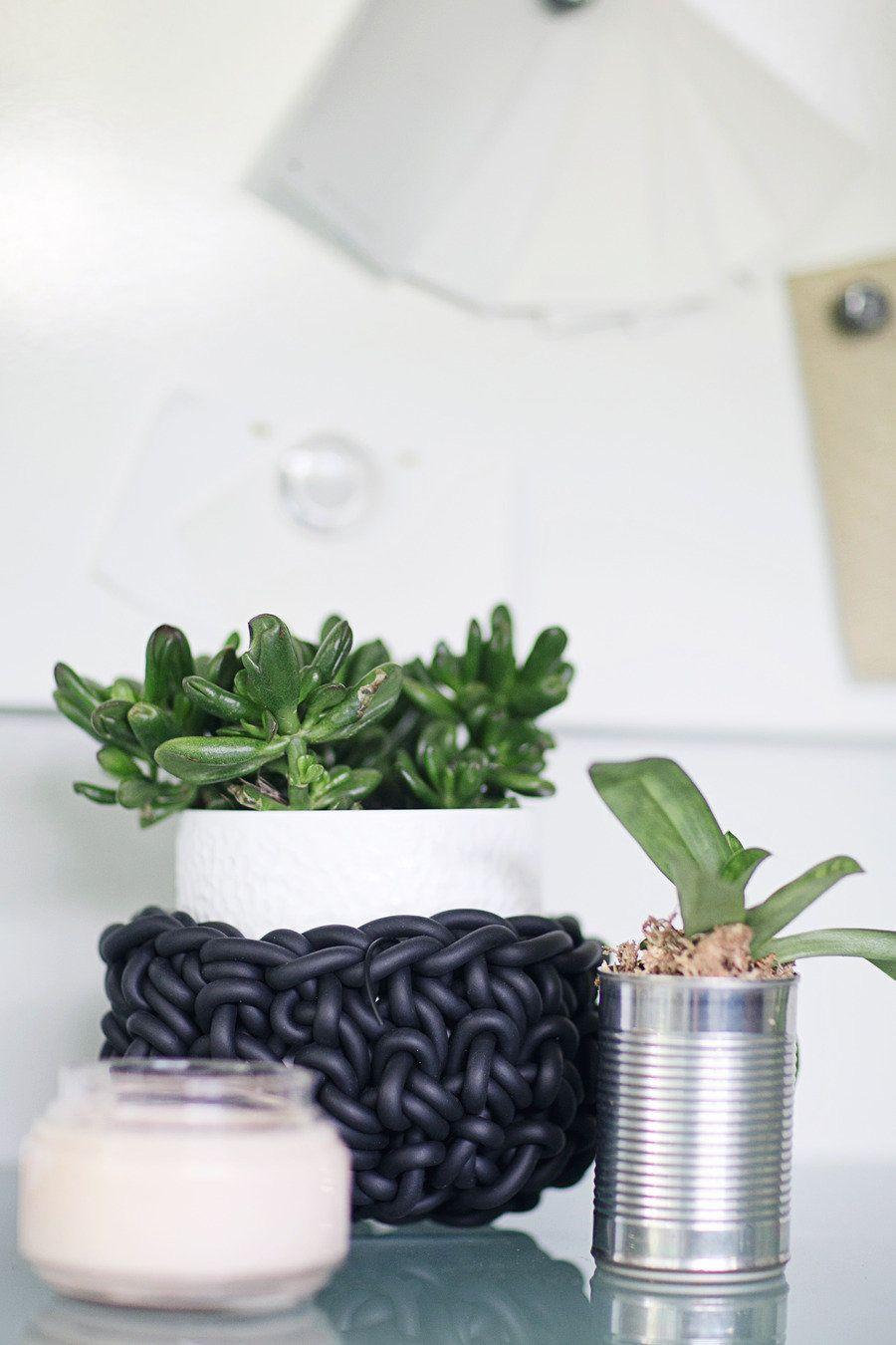 tin can as a planter #potted-plants, #plants  Photography: Heidi Geldhauser - ourlaboroflovebyheidi.com/ Design & Styling: Christina Loucks - christinaloucks.wordpress.com/  Read More: http://www.stylemepretty.com/living/2013/07/08/christina-loucks-home-tour/