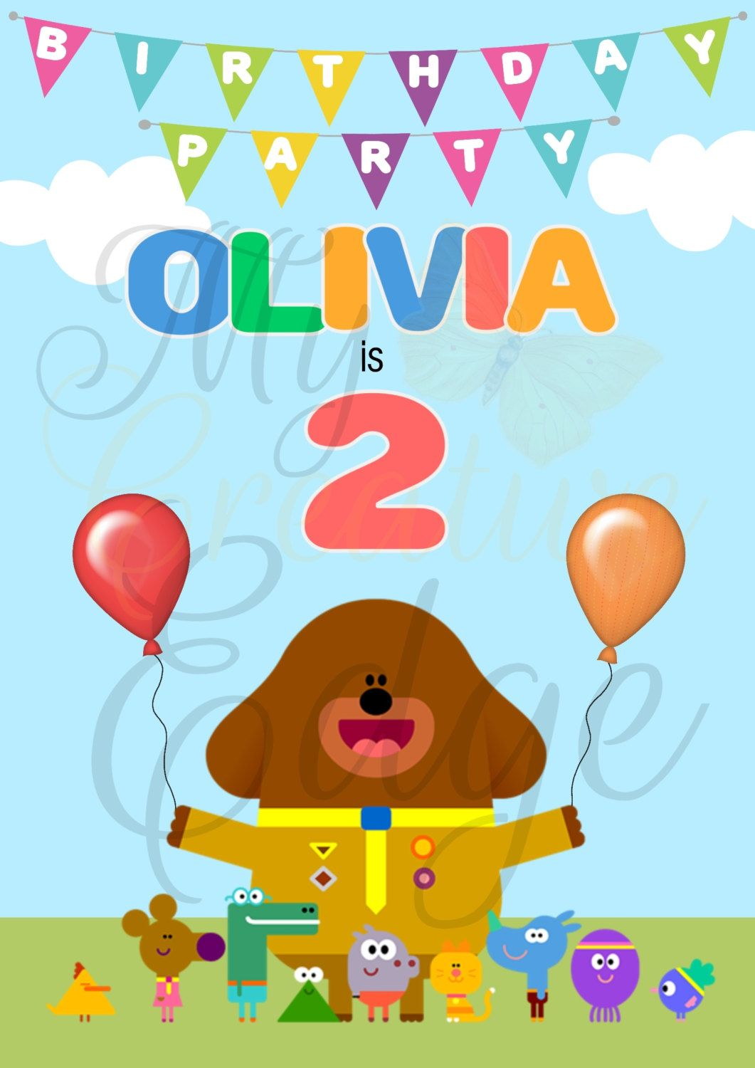 Hey Duggee - Personalised Birthday Poster - A0 Size - Digital File