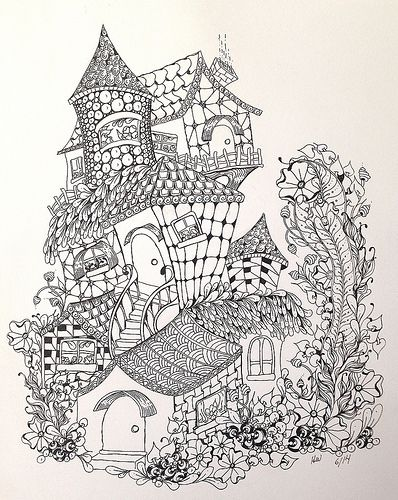 Fairy Houses Abstract Doodle Zentangle Paisley Coloring Pages Colouring Adult