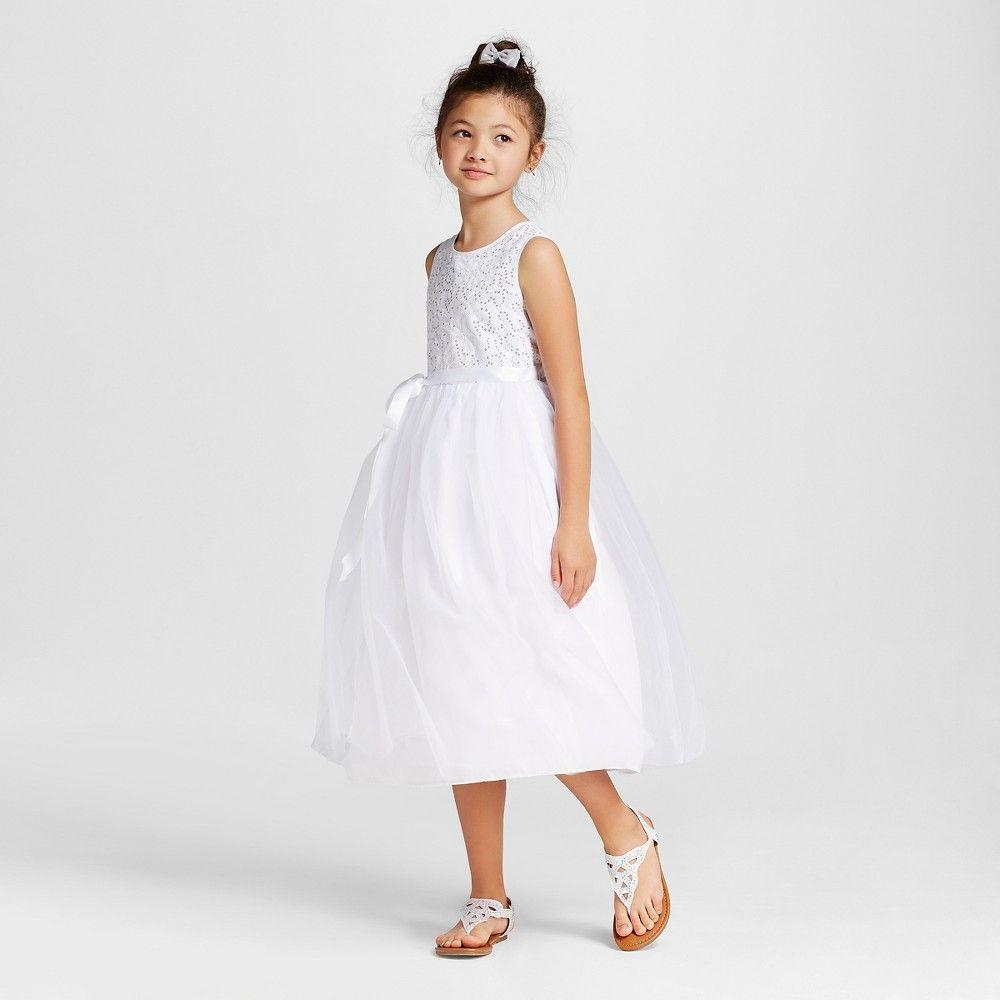 Girls Sequin Bodice Tee Length Dress Tevolio White 14 Girls