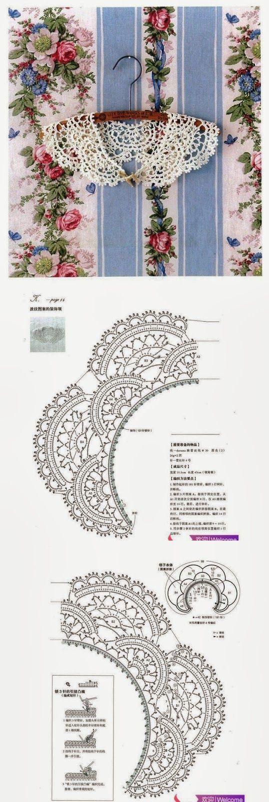 Cuello Vintage Patron - Patrones Crochet | crochet,,,, | Pinterest ...