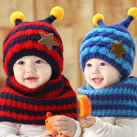 New Baby Boys Girls Kids Winter Warm Hat Scarf Cartoon Bee Knit Hat Beanie  Caps Scarves Set Warm Cap From Jessiebee e5fae2d9b17d