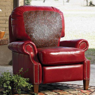 Red Leather Recliner King Ranch Beauatiful Family Room