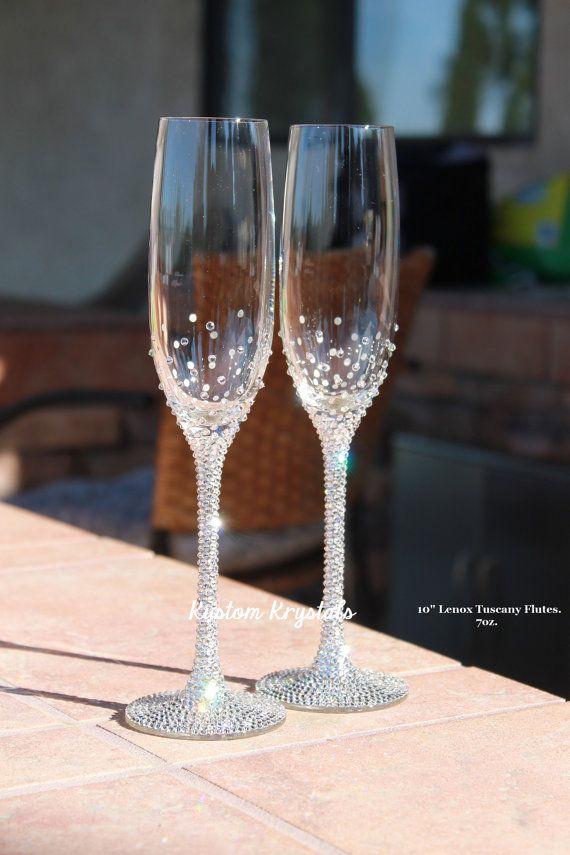 9b6bb57db1 Custom Swarovski crystal embellished STEM + BASE standard toasting flutes, toasting  glasses. Champagne flutes. Lenox Tuscany, Gold, Platinum