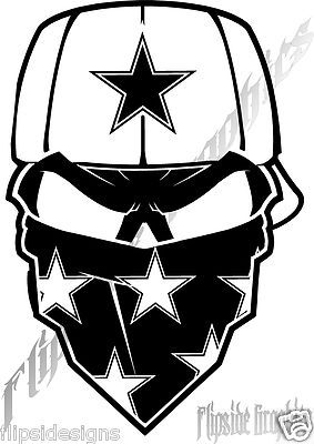 DALLAS COWBOYS DECAL SKULL CUSTOM CAR WINDOWS TRUCK GRAPHICS DECAL - Cowboy custom vinyl decals for trucks
