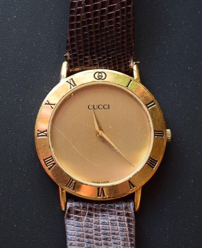 4b1c43b1856 Vintage Mens Gucci Swiss Wristwatch Model 3000 M GOLD PLATED