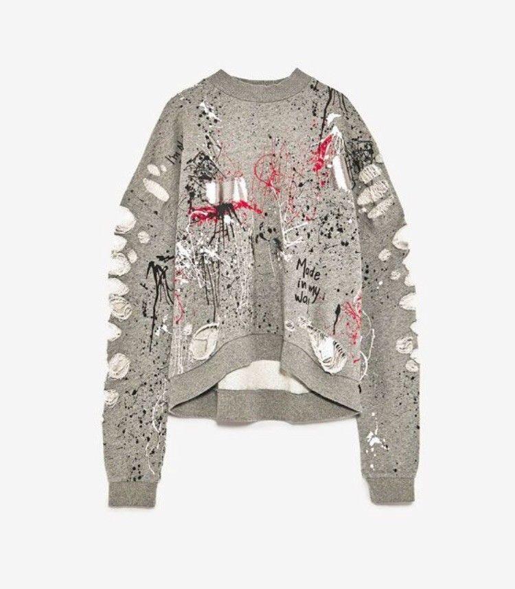 ZARA distressed Graffiti Ripped Sweatshirt in 2019 | Fashion