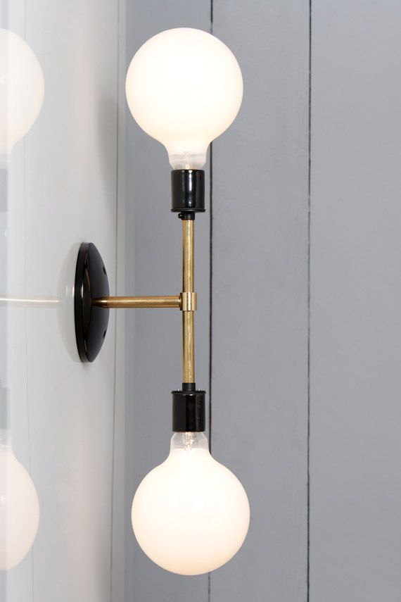This Custom Made To Order Brass Wall Light Double Bare Bulb Lamp Comes With 2x Ceramic Socket In Black Or White Wandbeleuchtung Moderne Wandlampen Wandlampe