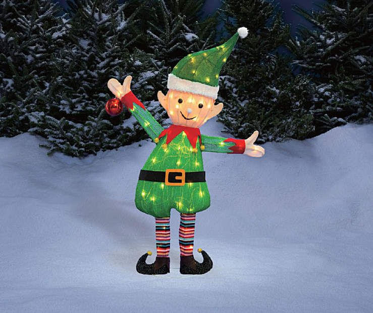 Winter Wonder Lane Light Up Tinsel Elf