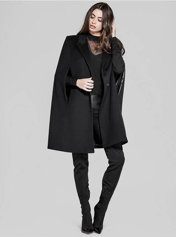 Black cape  Cape  Fleece cape  Minimal design  Streetwear style  Casual jacket  Oversized coat  Designer coat
