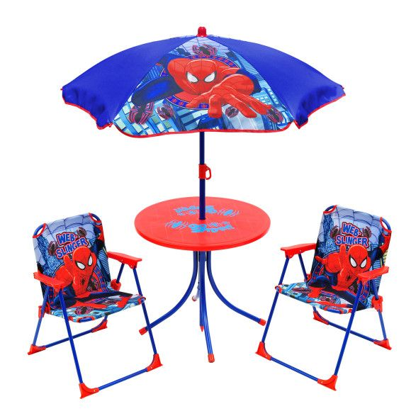 Kids Patio Set   4 Piece Childrenu0027s Furniture Set With 2 Foldable Chairs, 1  Round Table And 1 Extendable Umbrella   Indoor/Outdoor Use   Ultimate  Spider Man ...