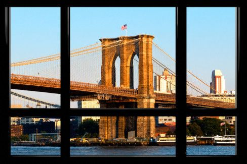 Window View, Special Series, Brooklyn Bridge, Sunset, Manhattan, New York City, United States Wall Mural by Philippe Hugonnard at AllPosters.com