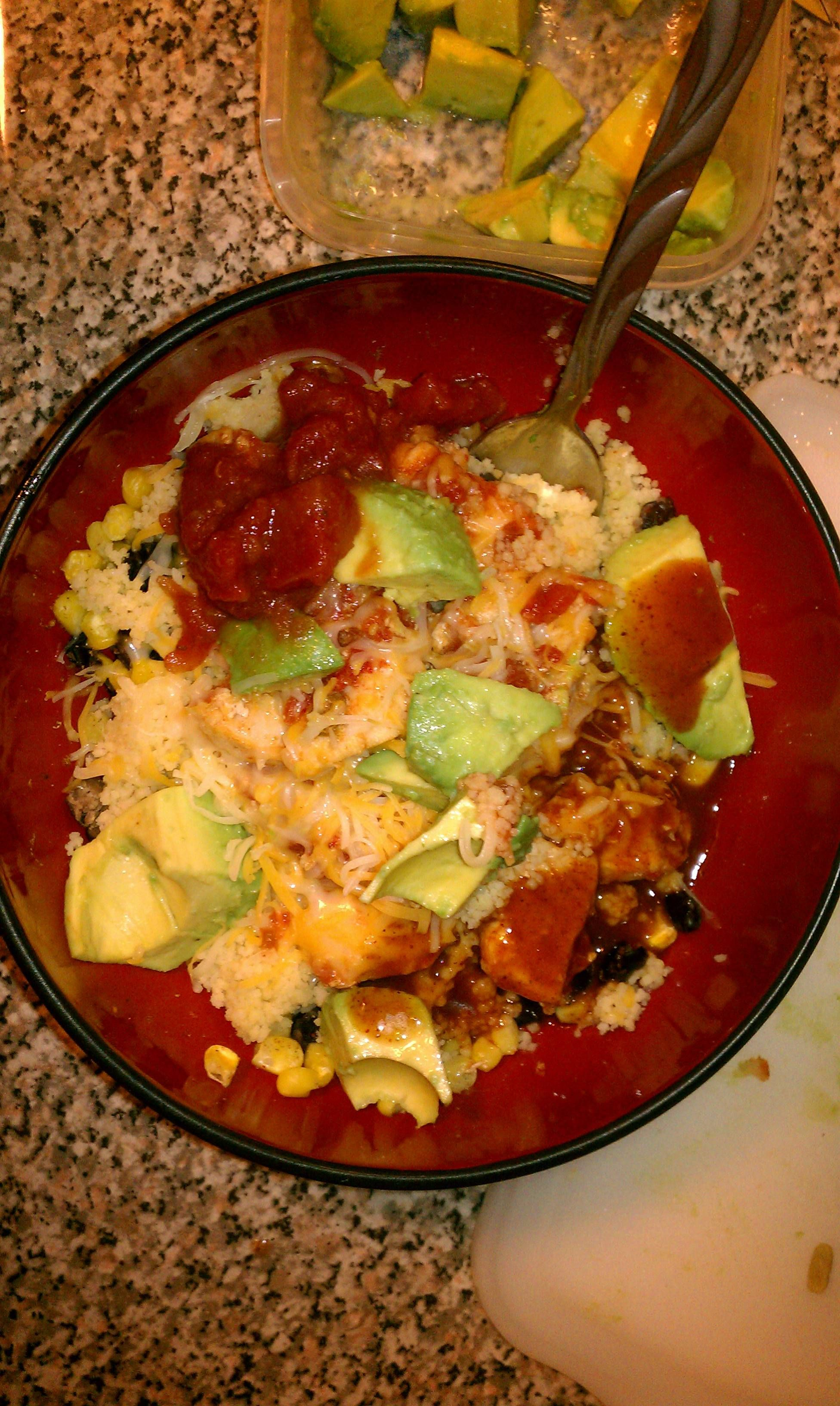 Mexican couscous bowl. Just made up the recipe. So yum.