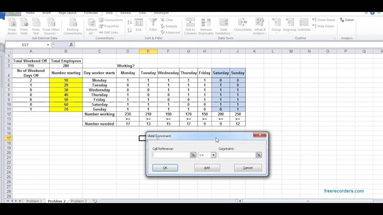 dss manpower planning using m s excel solver tool youtube
