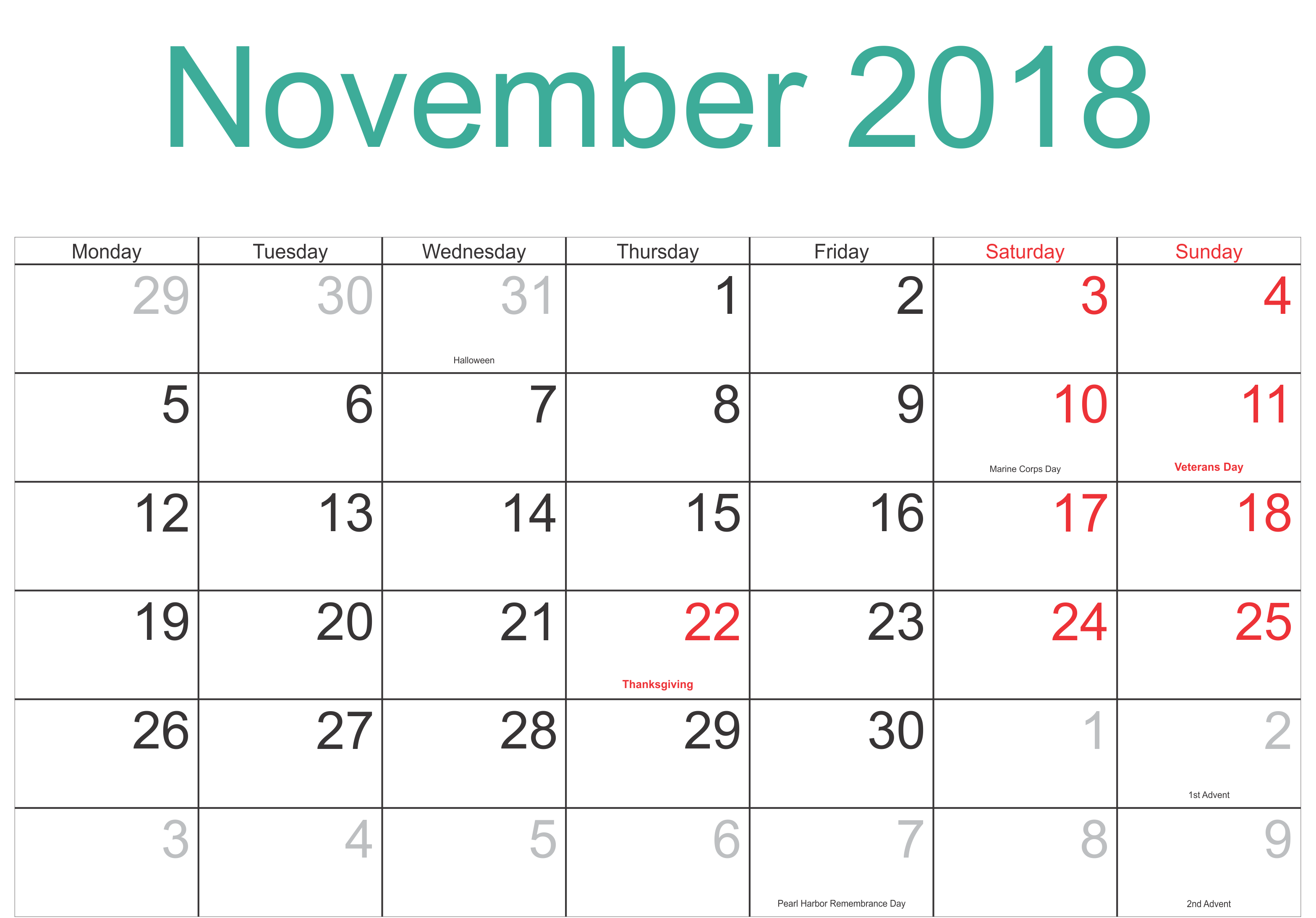 picture regarding Free Printable Nov Calendar referred to as November 2018 Calendar Pdf November Calendar June