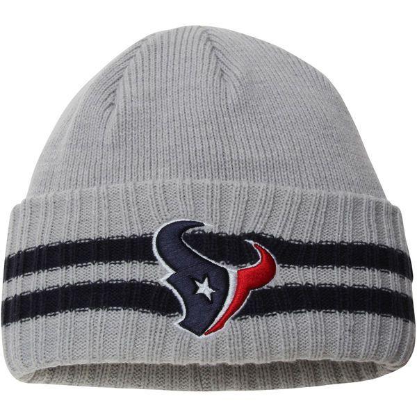 7053d17f58b Men s Houston Texans New Era Heathered Gray 2 Striped Cuffed Knit ...