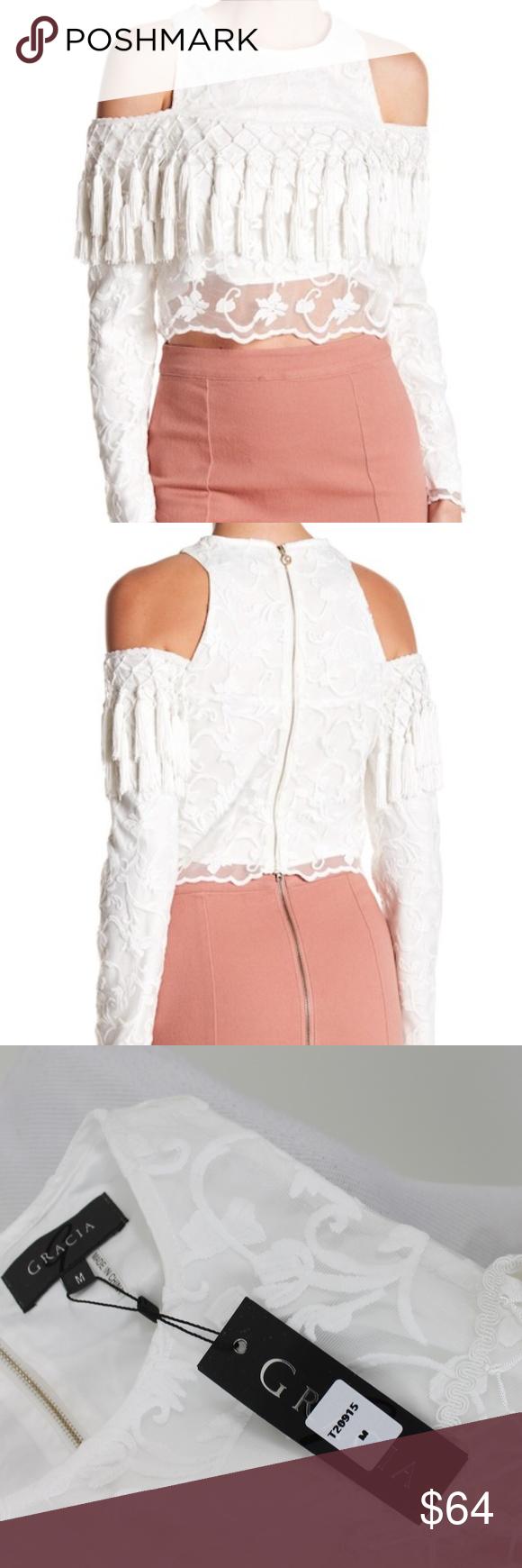 06056b762e6956 New Gracia Lace Cold Shoulder Tassel Top White M New Women's Gracia Lace Top-  $129 Cold shoulder- Back zipper- Fully lined- Tassel detail White 100% ...