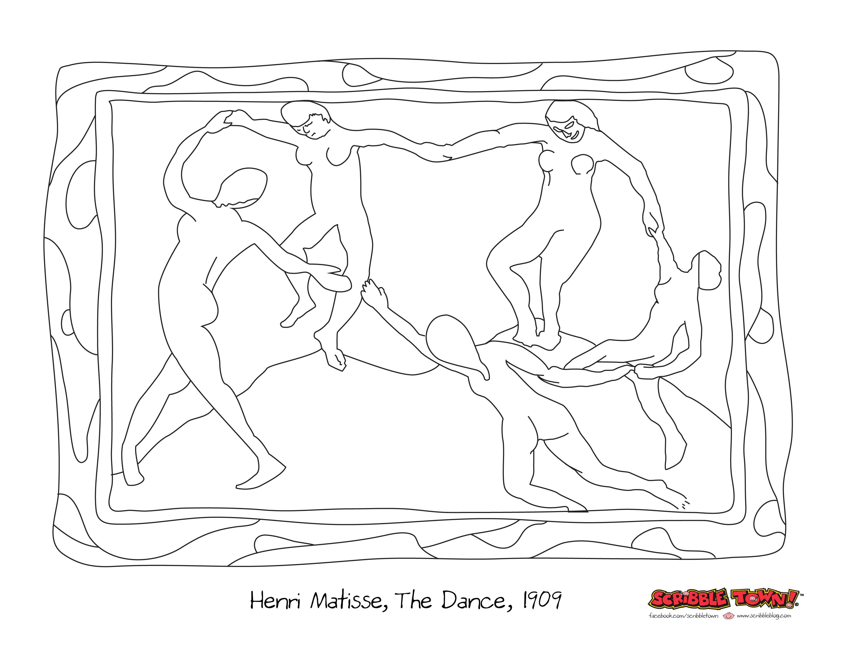 Henri Matisse, The Dance, Scribble Art Coloring Page. Print then ...