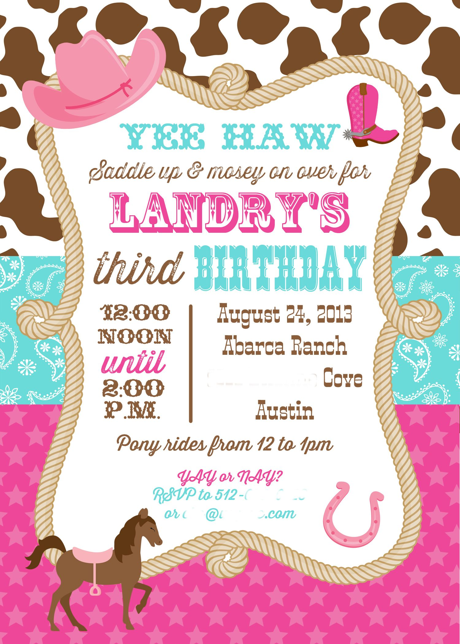 Cowgirl Invitation You Print Pink And Aqua Cowgirl