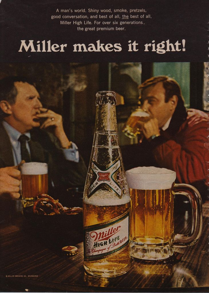 A man's world. Shiny wood, smoke, pretzels, good conversation, and best of all, THE best of all, Miller High Life. For over six generations, the great premium beer.