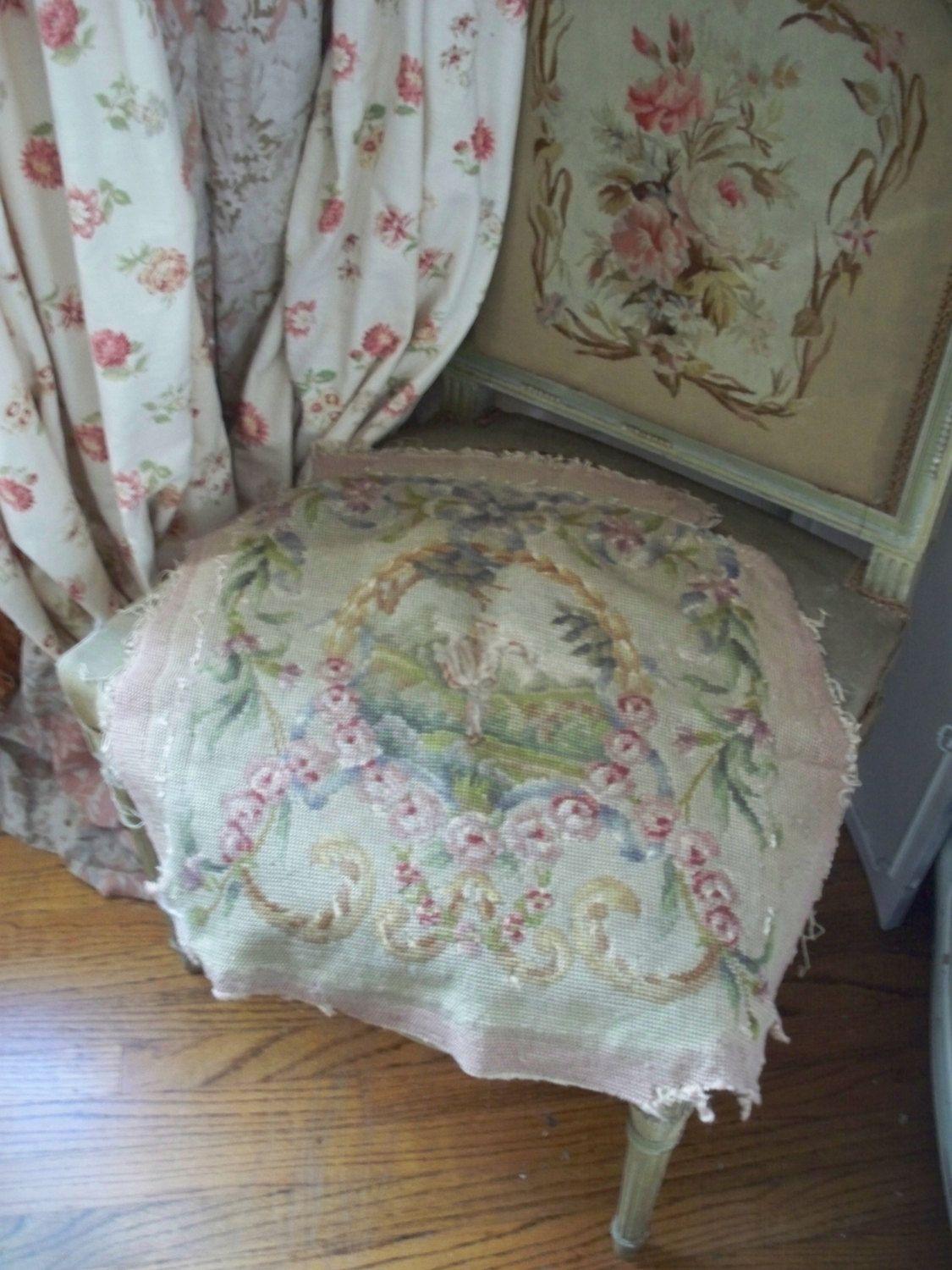 19th Century Antique French Wool Tapestry Chair Cover Romantic Roses