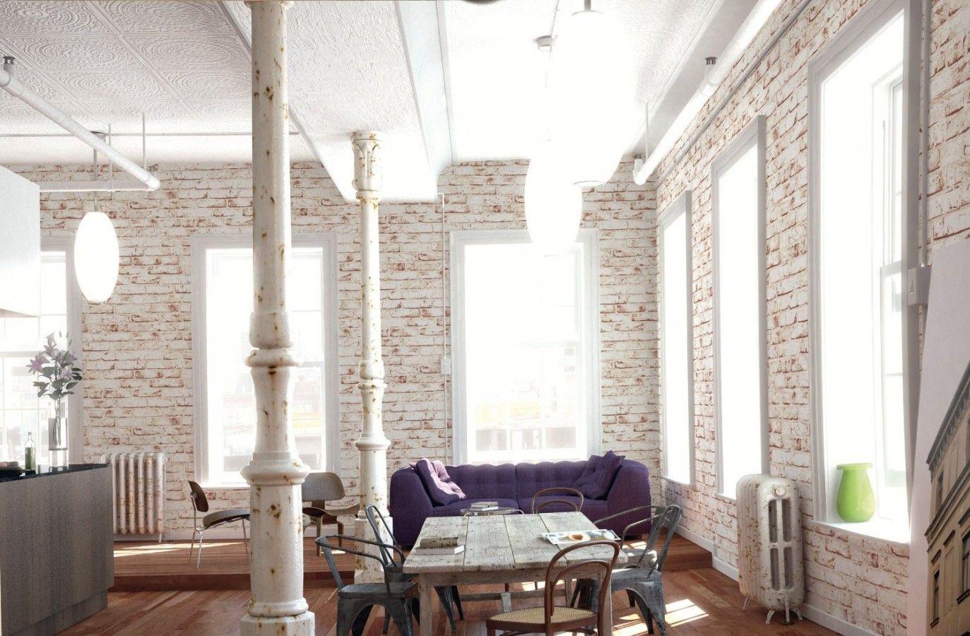 cf78efdbd3c10 El papel pintado imitación ladrillo visto cuarteado en blanco lo puedes  emplear para crear estancias con