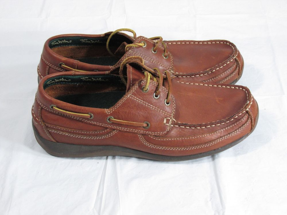 9c6cd00eee6 Thom Mcan Men's Brown Leather Boat Shoes Size 10 (D,M) Solid ...