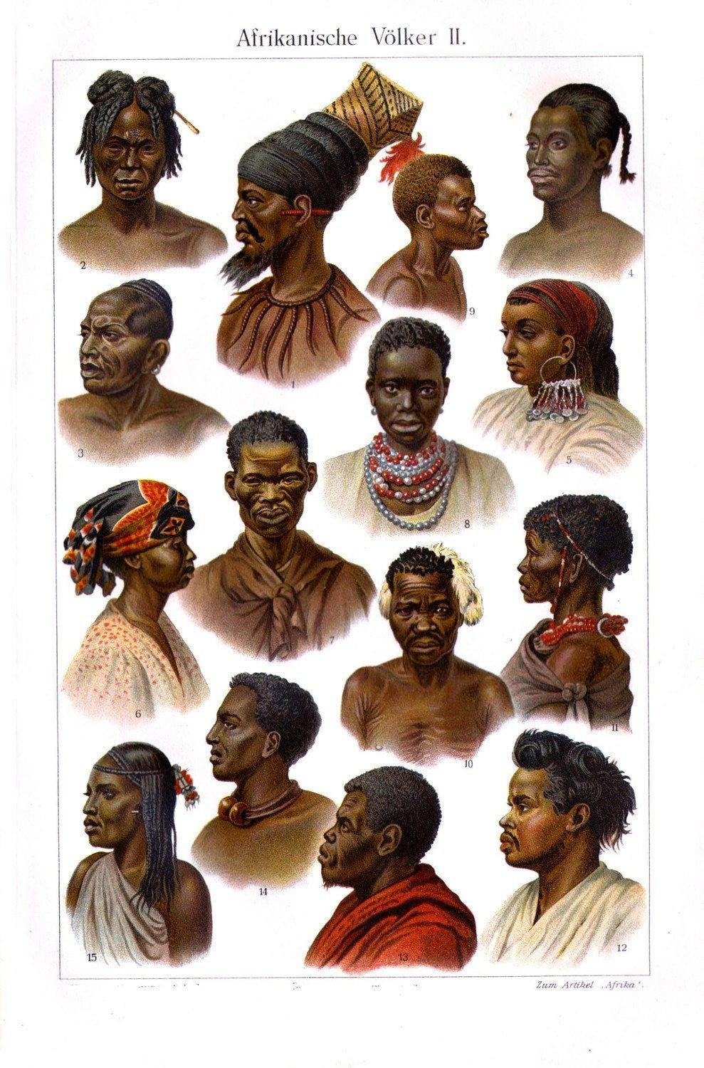 Faces Of Africa II Cultural Anthropology Chromolithograph Print To Frame 1903 Edwardian Original