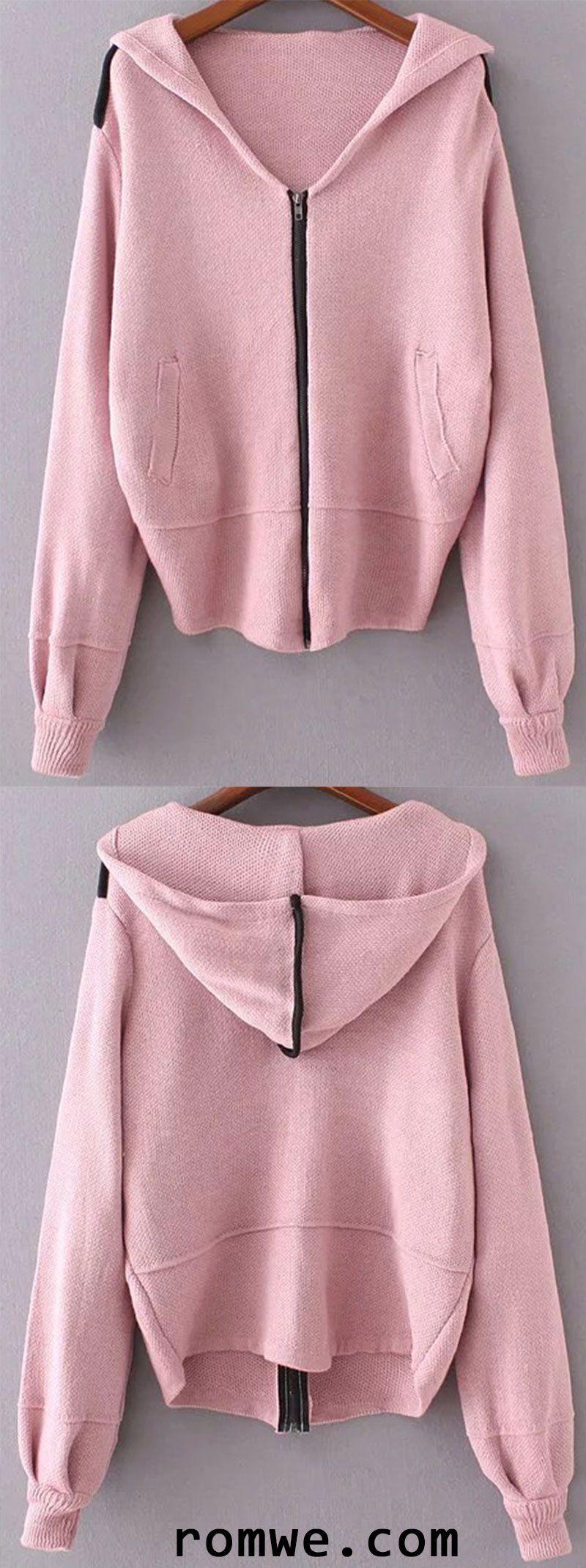 Pink Zipper Up Hooded Sweater Coat | Romwe Women Style | Pinterest ...