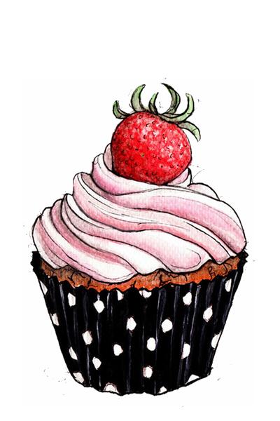 Doce Cupcake Com Morango Themes By Mandrakescry Cupcake Illustration Cake Drawing Cupcake Drawing