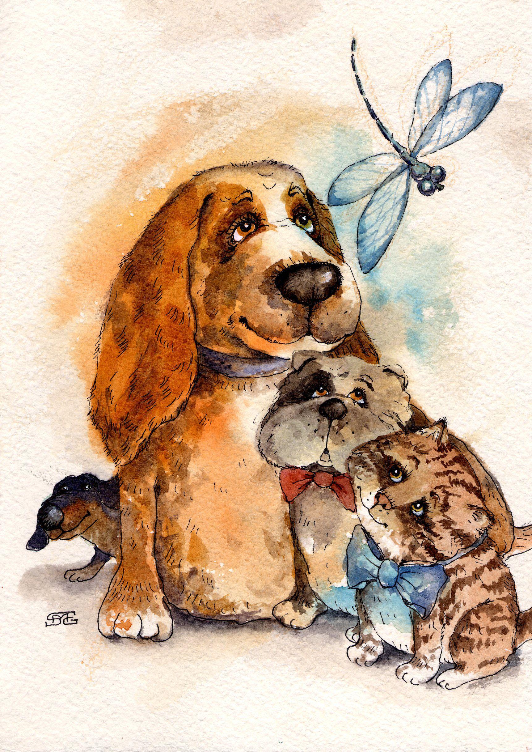 милые открытки с собаками бесплатно широкоформатные