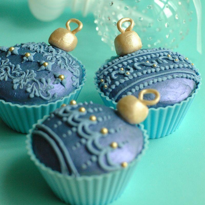 cupcakes de ornamentos de navidad