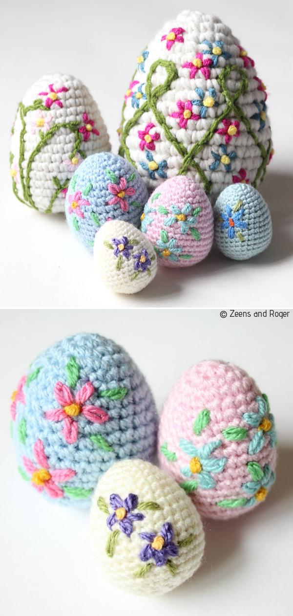 Easter Eggs Decor Free Crochet Patterns #eastercrochetpatterns